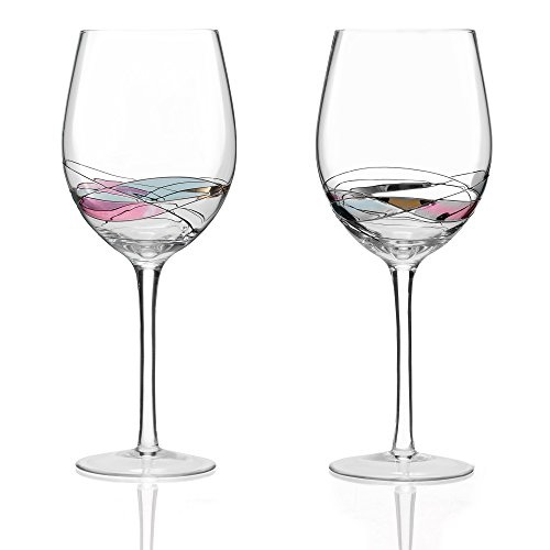 Red Wine Glasses Set Of 2 Hand Painted Designed With