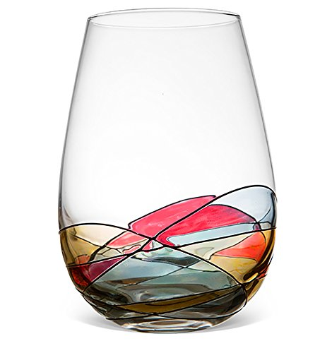 Antoni barcelona hand painted stemless wine glass unique for Painted stemless wine glasses